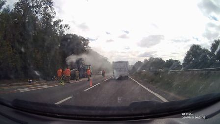Lorry fire on A14 Eastbound. Picture: ANDREW PAPWORTH