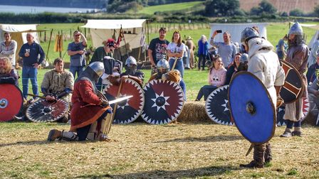 Vikings take part in one-on-one combat Picture: BARRY PULLEN