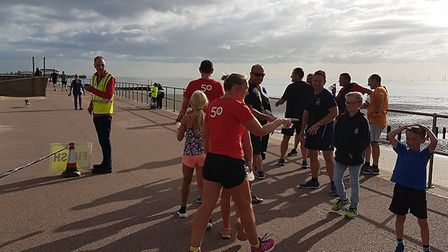 Finishers congregate at the end of the Clacton Seafront parkrun on Saturday. Picture: CLACTON SEAFRO