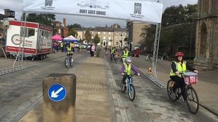 People taking part in the Bury Goes Biking event. Picture: RUSSELL COOK
