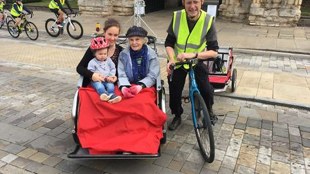 The four generations taking part in the Bury Goes Biking event. Great grandmother Sheila Drew, in th