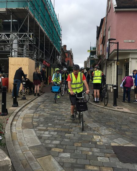 Cyclists coming down Abbeygate Street in the Bury Goes Biking event. Picture: RUSSELL COOK