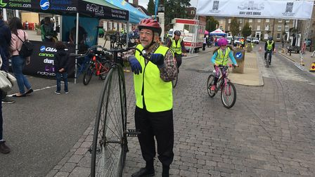 Bill Ives with his penny farthign in the Bury Goes Biking event. Picture: RUSSELL COOK
