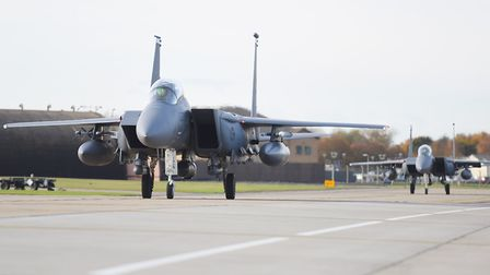 Military jets at RAF Lakenheath. Picture: GREGG BROWN