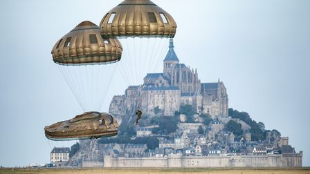 Paratroopers come in to land at Mont St Michel Picture: Jonathan Lee van Zyl