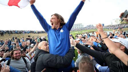 Tommy Fleetwood celebrates - a real crowd favourite.