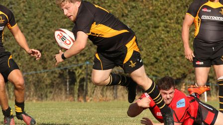Luke Wade in action for Southwold in their narrow defeat to South Woodham Ferrers. Picture: LINDA CA
