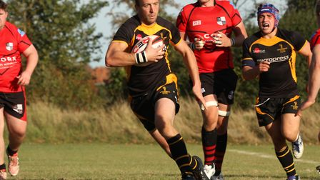 Richard Thickett on the carry for Southwold. Picture: LINDA CAYLEY