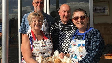 Wickham Market's 'sconathon' bakers, pictured l-r, Mary Hawes, Philip Tallent, Roger Theobald and Gl