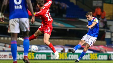 Gwion Edwards takes aim against Middlesbrough on Tuesday night. Picture: STEVE WALLER WWW.STE