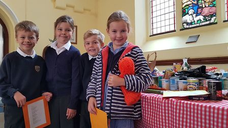Colneis Junior and Fairfield Infants take part in their Harvest Festival at Trinity Methodist Church