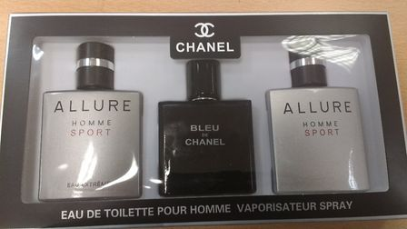 Chanel men's products seized by Border Force officers at Felixstowe. Picture: BORDER FORCE