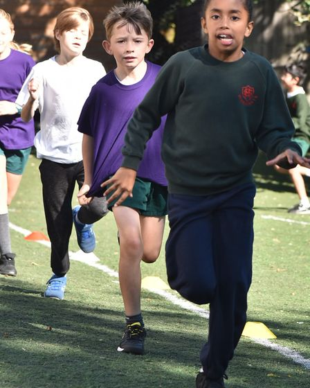 It'd player Toto Nsiala visits St Margaret's Primary school to help the kids with their daily mile a