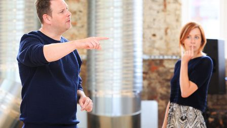 Director Ryan McBryde and Eva-Jane Willis as Moll Flanders in rehearsals for Colchester Mercury's wo