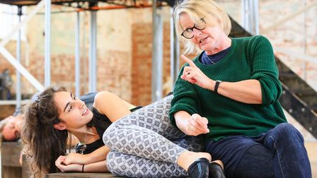 Hanna Khogali and Annie Wensak in rehearsals for Colchester Mercury's world premiere production of M