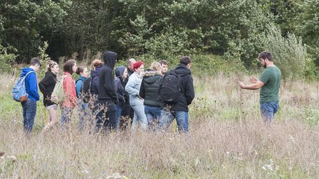 University of Suffolk Conservation students with David Dowding in Ipswich's Landseer Park