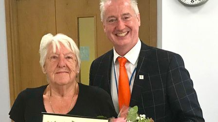 Councillor Paul Hopfensperger presents Barbara Bannister with her award Picture: SUPPLIED BY PAUL HO