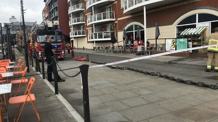 The fire cordon in place on the quayside Picture: ARCHANT