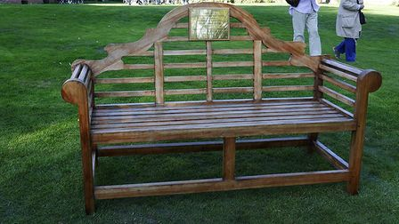 The bench which pays tribute to officer Marshall who died in 1941 Picture: ALAN POWELL