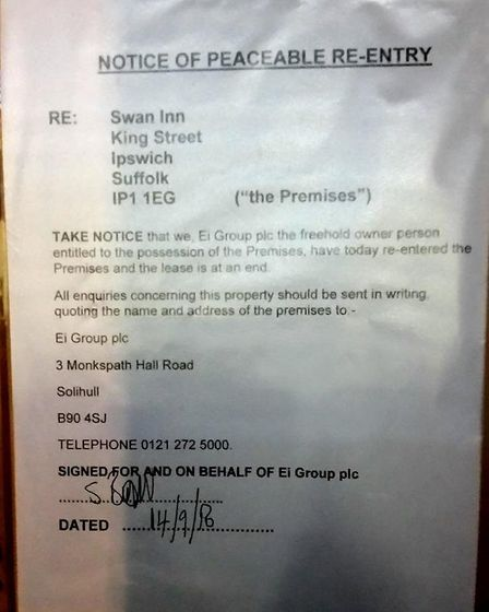 The notice on the front of the Swan pub Picture: DARREN SMITH