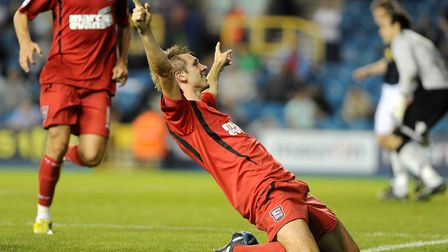Gareth McAuley celebrates his goal scored at Millwall right on half-time on this day in 2010