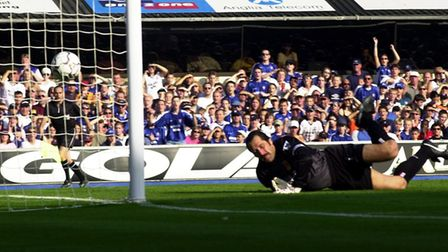 Arsenal goalkeeper David Seaman is beaten by a header from Ipswich's Marcus Stewart on this day 18 y