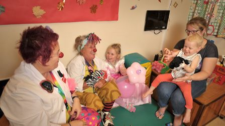 Children on the Bergholt Ward at Ipswich hospital had an afternoon of laughter when Clown Doctors Fi