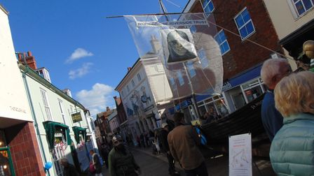 The Woodbridge Riverside Trust join the street party on the Thoroughfare Picture: KATY SANDALLS