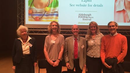 From left, Aldeburgh Food and Drink Festival president Lady Caroline Cranbrook with some of the spea