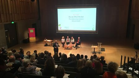 From left, chair Bill Turnbull and Aldeburgh Food and Drink Festival Conference speakers Bee Wilson,