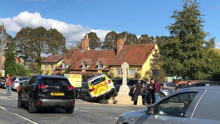 The scene of the crash in Norton on Friday lunchtime Picture: CONTRIBUTED