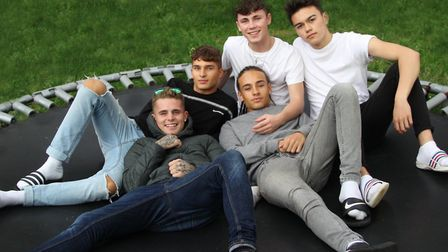 Jon Guelas (far right) with United Vibe who are preparing for the X-Factor live shows Picture: SUPPL