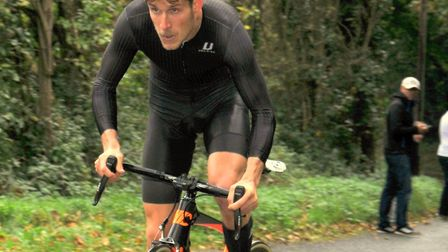 Chris Crabtree on his way to victory in the CC Sudbury hill climb. Picture: ROGER RUSH