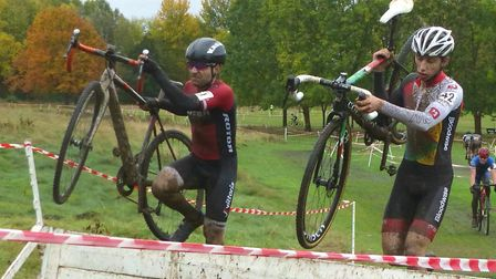 Seb Herrod (left) and James Madgwick vie for second place in the Senior race at Welwyn. Picture: FER