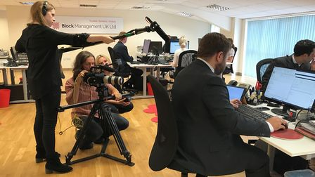 Media filming at Block Management UK for Vodafone at Head office, Stour Valley Business Centre