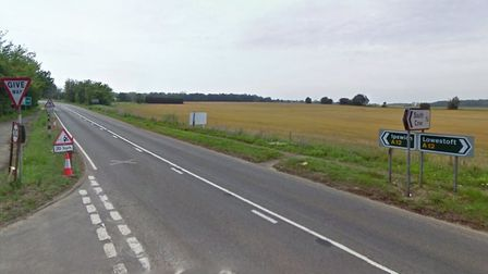 The crash happened on the A12 in Frostenden near to the junction with Gypsy Lane Picture: GOOGLE