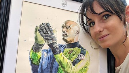 Louise also painted Cark Ikeme, the Wolves goalkeeper, who was diagnosed with acute leukaemia in Jul