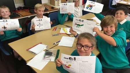 Pupils from Melton Primary School with some of their creations, which could be used on TV next year
