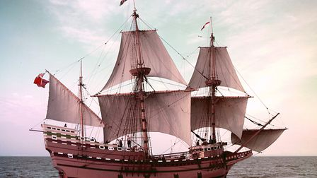 The Mayflower II, which is a replica of the 17th-century ship Mayflower, celebrated for transporting