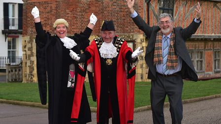 Celebrating Aldeburgh Museum's �800k National Lottery award, pictured l-r, town clerk Ruth Proctor,