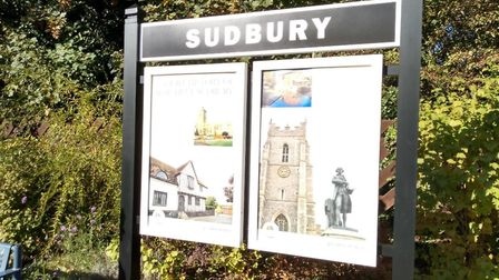 New history boards welcome visitors to Sudbury by rail Picture: GREATER ANGLIA