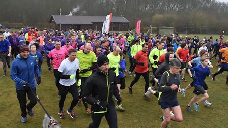 Runners, walkers and dogs set off at the start of the weekly Huntingdon parkrun. Picture: HUNTINGDON