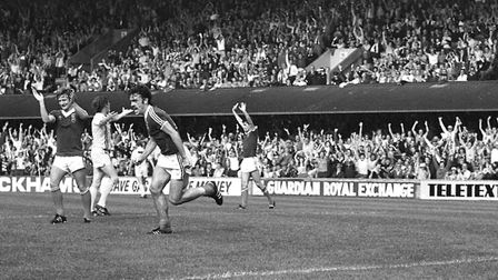 John Wark celebrates one his on two goals on this day in 1980 Picture: OWEN HINES