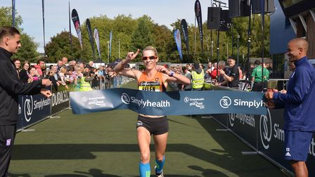 Helen Davies crosses the finish-line as the leading lady at Sunday's Simplyhealth Great East Run, in