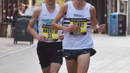 Andrew Rooke, left, is shoulder-to-shoulder with Henry Pearce during the early stages of the Simplyh