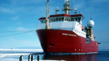 The Ernest Shackleton ship in Antarctica. Picture: BAS