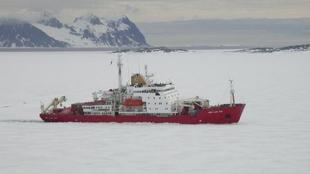 The RRS James Clark Ross ship in Antarctica. Picture: BAS
