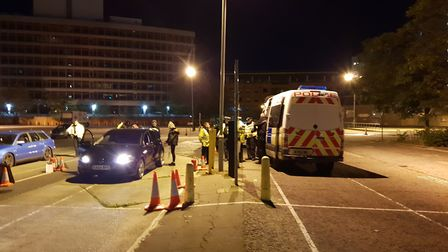 The roads policing operation in Ipswich targeting antisocial driving. Picture: ADAM HOWLETT
