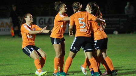 Ipswich Town FC Women players celebrate their opening goal Picture: ROSS HALLS