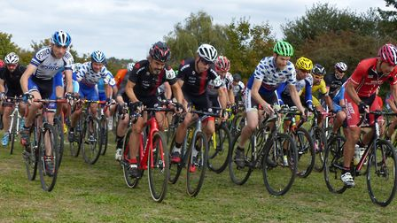 The Vets 50+ start at Colchester. Far left: Dave Copland. Far right: Paul Watkins (West Suffolk Whs)